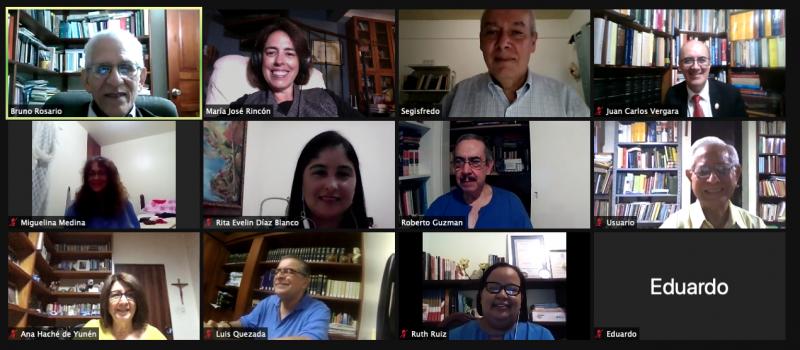 El equipo del Instituto Guzmán Ariza de Lexicografía  en sesión virtual de la Academia Dominicana de la Lengua